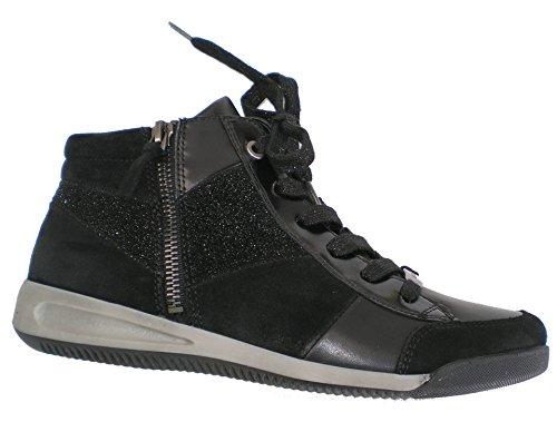 womens womens Ara Leather Leather Black Ara Sneaker qaZtwxPS