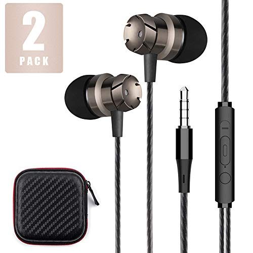Niraky Earphones, 2 Packs in-Ear Headphones Premium Wired Earbuds with Mic & Remote Control & Noise Isolating Compatible Phone/Tablet PC/Samsung/ Android Smartphones and More