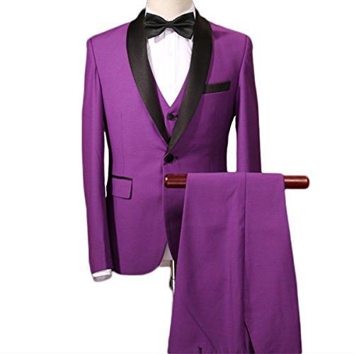 Men's Stylish Slim Fit 3-Piece Suit One Button Red/Purple Jacket Vest & (Men Designer Suits)