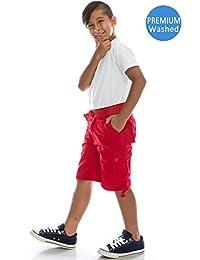Boys Hipster Hip Hop Belted Premium Washed Cargo Shorts
