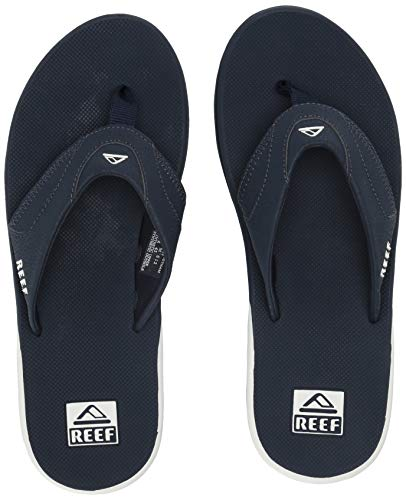 Reef Men's Fanning Flip Flop, Navy/White, 12 M US