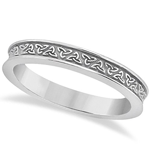 Ladies Traditional Carved Celtic Wedding Ring Band Irish Design in Brushed (Palladium Celtic Ring)