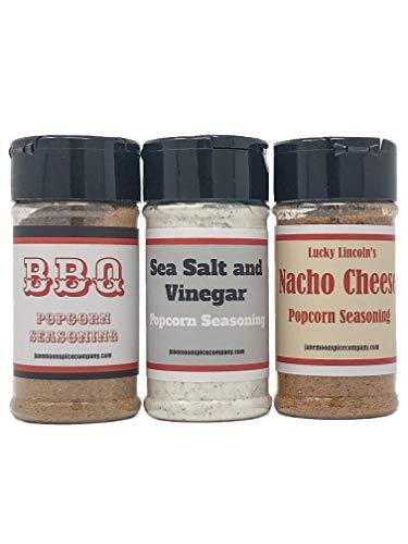 PREMIUM   Popcorn Seasoning   Variety 3 Pack   British Sea Salt & Vinegar Popcorn Seasoning   BBQ Popcorn Seasoning   Nacho Cheese Popcorn Seasoning   3.5 fl. oz.