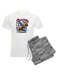 Royal Lion Men's Light Pajamas Cowboy Riding Bull With Lightning