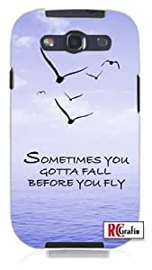 Sometimes You Gotta Fall Before You Fly Quote Blue Sky, Birds, Ocean Unique Quality Hard Snap On Case for Samsung Galaxy S3 SIII i9300 (WHITE)