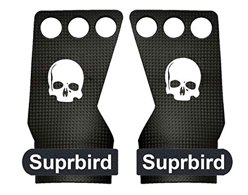 - SUPRBIRD Carbon Fiber 3 Hole Hand Grips and Gymnastics Grips Great for Cross Training, pullups, Weight Lifting,Barbell Work, Training, Workouts, Kettlebell and More. No More rips! (S)
