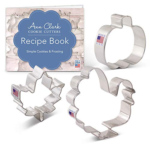 Thanksgiving/Fall Holiday Cookie Cutter Set - 3 piece - Maple Leaf, Turkey, Pumpkin - Ann Clark - USA Made Steel -