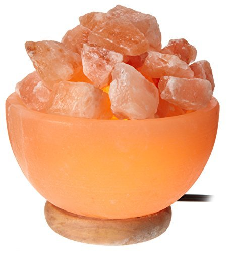 WBM Himalayan Glow Hand Carved bowl Natural Crystal Himalayan Salt Lamp With Crystal Chunks, Genuine Neem Wood Base, Bulb And Dimmer Control by WBM LLC