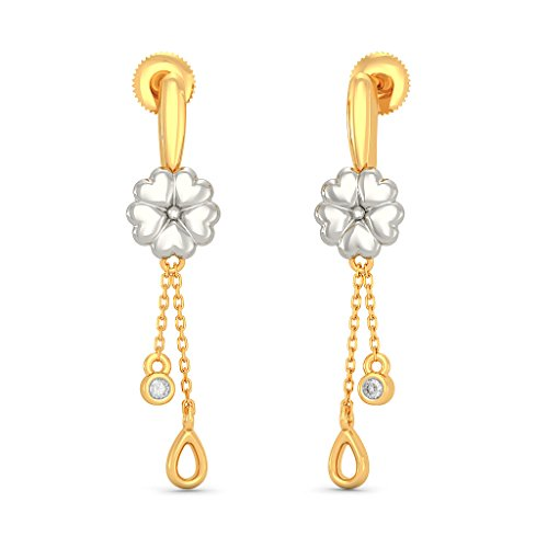 18K Yellow Gold (HallMarked) 0.03 cttw White-Diamond (IJ | SI) Drop Earrings by PEACOCK JEWELS