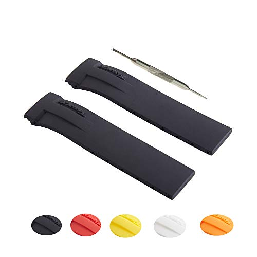 21mm Silicon Rubber Watch Strap Band Fits for T-Race o | Free Spring Bar Tool (Black) (T Race Yellow)