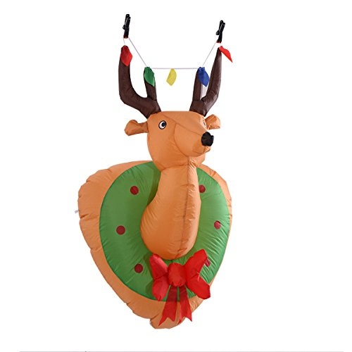 Snoopy Nose Costume (Tangkula 4Ft Airblown Inflatable Christmas Xmas Mounted Deer Head Gemmy Decor In/Outdoor)
