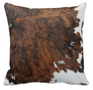 FFJPL Tri Color Brown Cowhide Print Throw Pillow Cover Decorative Throw Pillow Case with Zip Home Decor for Couch 16x16 inch
