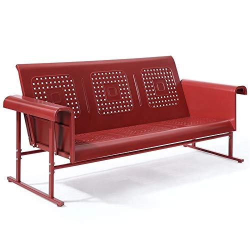 Crosley Furniture Veranda Patio Gliding Sofa in Coral Red