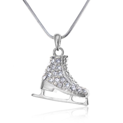 PammyJ Ice Skate Figure Skating Jewelry Crystal Necklace for Girls Teens Women