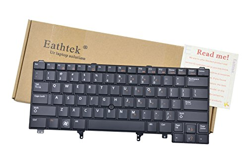 Eathtek Replacement Keyboard with Pointer Non-Backlit for Dell Latitude E6320 E6420 E6330 E6430 E6440 E5420 E5430 series Black US Layout, Compatible with part# C7FHD 0C7FHD by Eathtek