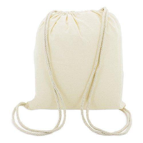 10 x Bolsa Mochila algodon natural con cordones tamaño 41 x 37 cm.