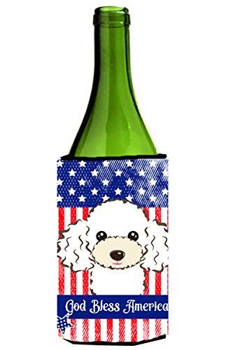 """UPC 638508210340, Caroline's Treasures BB2187LITERK """"God Bless American Flag with White Poodle"""" Wine Bottle Hugger Koozie, 750ml, Multicolor"""