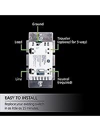 Interruptor GE para onda GE Z, controles de luz inteligentes inalámbricos GE Zigbee Bluetooth, sin interruptor independiente, incluye color blanco y almendra claro, 12723, 14287