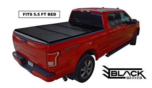 Black Series Hard Trifold Solid Tonneau Pickup Truck Box Cover Top-Mount (Fits 2004-2019 Ford F-150 5.5 Feet (66.0 Inches / 1.7 Metres) Bed Box Size - Non-Flareside Models)