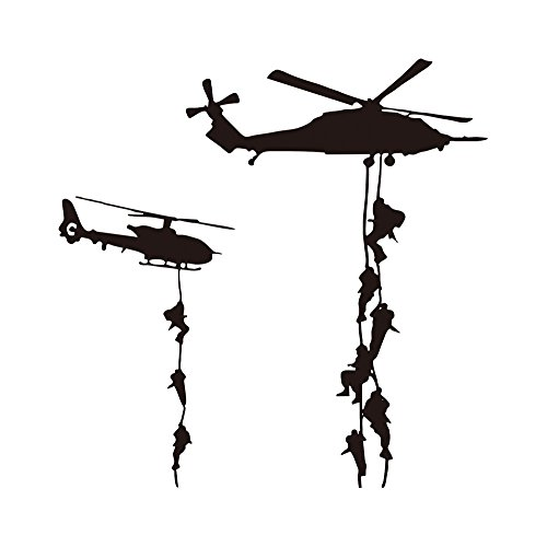 """Cool Helicopter Army War Soldier Wall Stickers Vinyl Art Decals Vinyl Quote DIY for Kids Teens Boys Guy Men Marines Military Families Fans Bedroom Playroom Living Room Home Decor Wall Quote 22x22"""""""