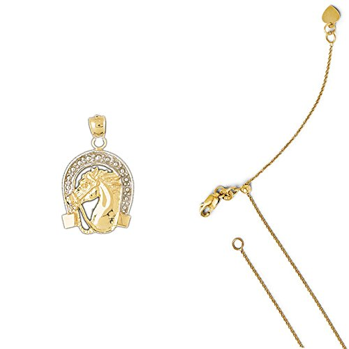14K Two-Tone Gold Horse Shoe and Horse Pendant on an Adjustable Round Cable Chain Necklace, 22