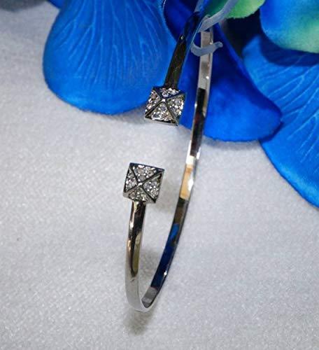 Designer Pave Diamond Sterling Silver Pyramid Open Cuff Bracelet - SKU -