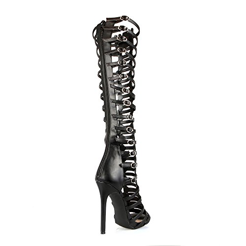 13 Knee High Black Sandals Caged Cut Strappy Womens Toe Out Oscar Open Dress dFAwqxTd