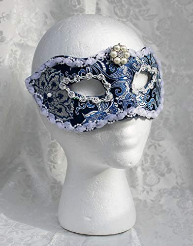 Royal Blue and Silver Satin Brocade Masquerade Mask with Rosette ()
