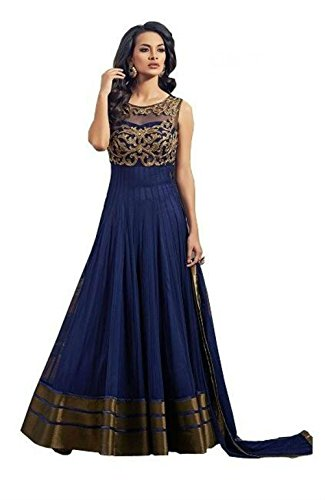 Anarkali Salwar Kameez Designer Indian Bollywood Ethnic Bridal Wedding (Semistitched, Blue)