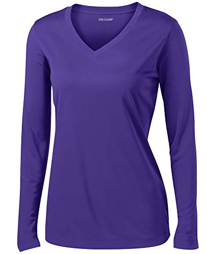 - Ladies Long Sleeve Moisture Wicking Athletic Shirts, Purple 4X-Large