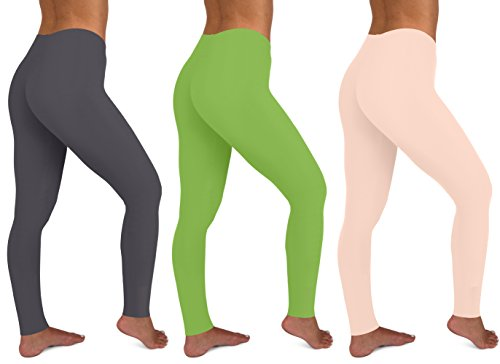 Womens 3 Pack Active Yoga Workout Cotton Stretch Fashion Long Leggings (Medium, 3 PK-Shell-Pinstripe-GREENARY)