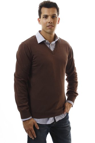 Noble Mount Men's 100% Cotton V-Neck Sweater - Brown/Grey/Navy