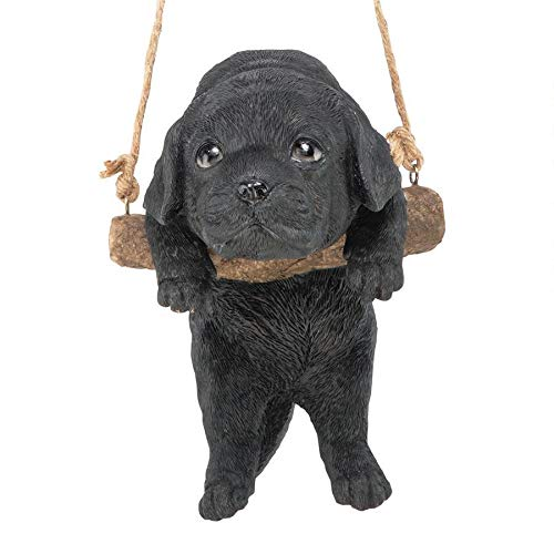 Design Toscano Black Lab Puppy on a Perch Hanging Dog Sculpture, 8 Inches, Full Color