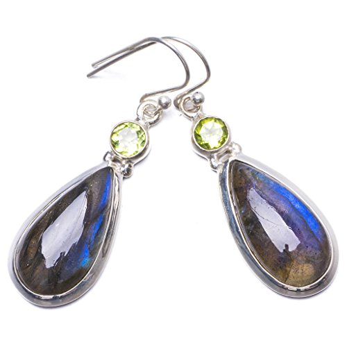 Natural Blue Fire Labradorite and Peridot Handmade Unique 925 Sterling Silver Earrings 1.75