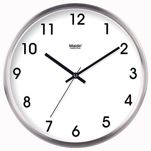 FortuneVin Wanduhr Bad Wanduhr mit Wanduhren lautlosem Uhrwerk Kein nerviges Ticken Mute Wecker Tischuhr Quarzuhr Wand Tabelle 10 in Silber