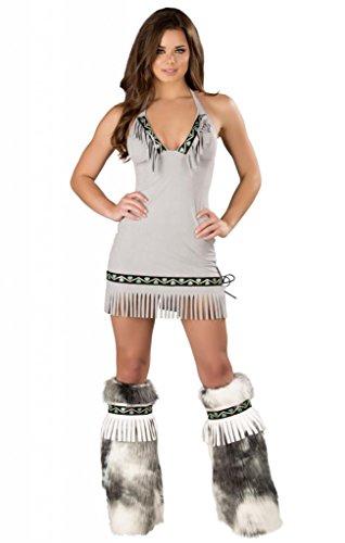 Sexy Ice Eskimo Faux Suede Fringe Dress Halloween Costume- Medium Grey ()