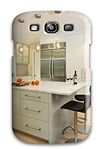 For Galaxy S3 Protector Case Contemporary White Kitchen Island With Extra Storage And Seating Space Phone Cover