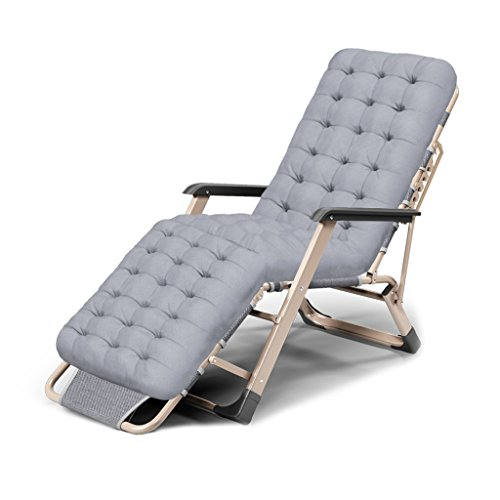 Lounge Siesta Folding (MS Lounge chair Folding Lounge Chair Lunch Break Fold Memory Foam Pad Bed Simple Office Siesta Chair Automatic Adjustment Balcony Outdoor Old Man Blue Black Gray (Color : Gray))