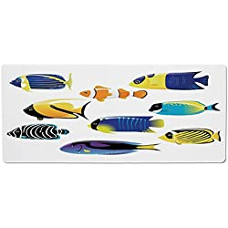 iPrint Pet Mat for Food and Water,Ocean Animal Decor,Types of Sea Creature with Atlantic Cod Bonito Palette Surgeonfish Image,Multi,Rectangle Non-Slip Rubber Mat for Dogs and Cats