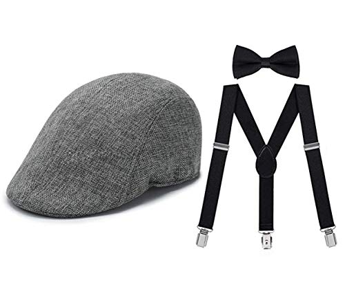 1920s Mens Gatsby Gangster Costume Accessories Set Panama Hat Suspender (Gray Cap 3sets)]()