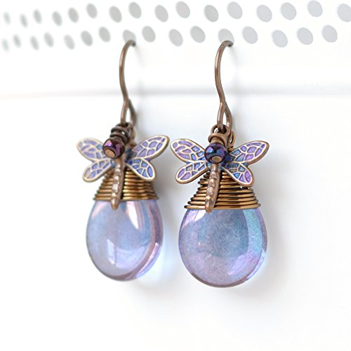 (Blue Purple Teardrop Dragonfly Earrings, Hand Painted Jewelry)
