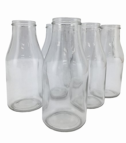 Circleware Valley Farm Glass Milk Bottles/Drinking Glasses, 16 Ounce, Set of 6 ()