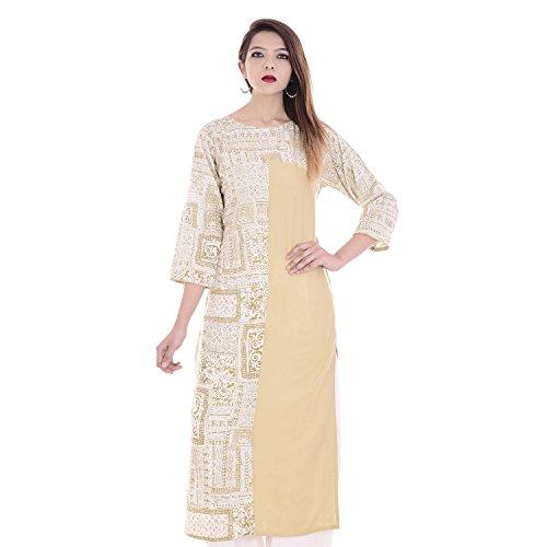 Chichi Indian Women Kurta Kurti 3/4 Sleeve X-Large Size Printed Straight Beige Top by CHI