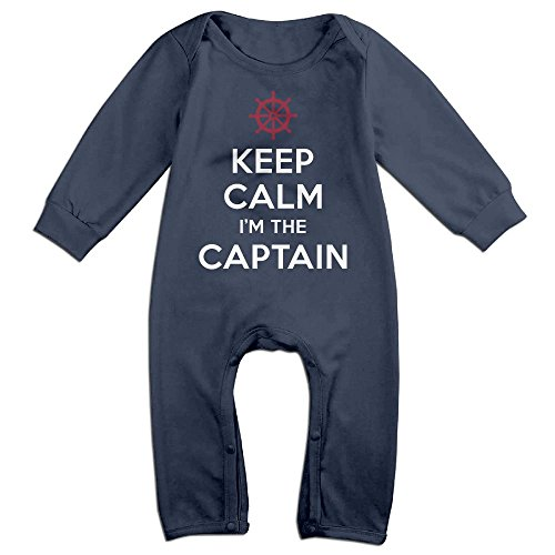 Baby Infant Romper Keep Calm I'm The Captain Anchor Long Sleeve Bodysuit Outfits Clothes Navy 24 Months