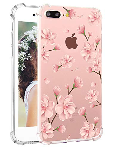 Hepix Floral iPhone 8 Plus Case Flowers iPhone 7 Plus Case Cherry Blossom Soft Clear Pink Flowers Print Protective Back Cover Case Protective TPU Bumper Case for iPhone 7 Plus -
