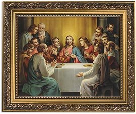 US Gifts The Last Supper Series Last SupperPrint in Ornate Gold Finish Frame Under Glass