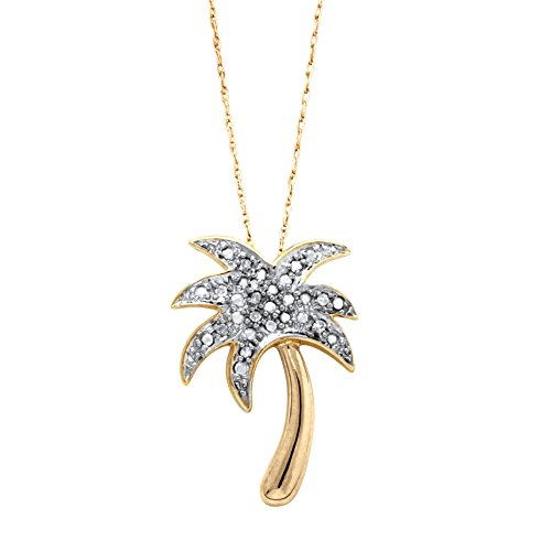 White Diamond Accent 14k Gold over .925 Silver Palm Tree Pendant Necklace 18