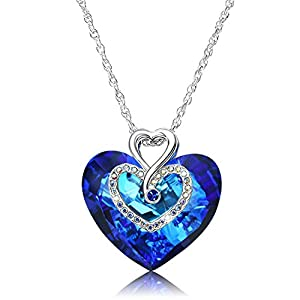 Alantyer Ocean Heart Sapphire Pendant Platinum-Plated Classic Symbol of Love Crystal Jewelry Necklace