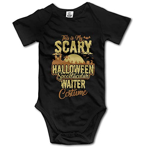Newborn Baby This is My Scary Halloween Spooktacular Waiter Costume Short Sleeve Romper Onesie Bodysuit -