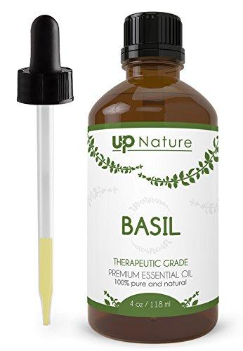 UpNature The Best Basil Essential Oil 4 OZ - 100% Pure Unrefined GMO Free Premium Quality - Fight A Migraine - With Dropper